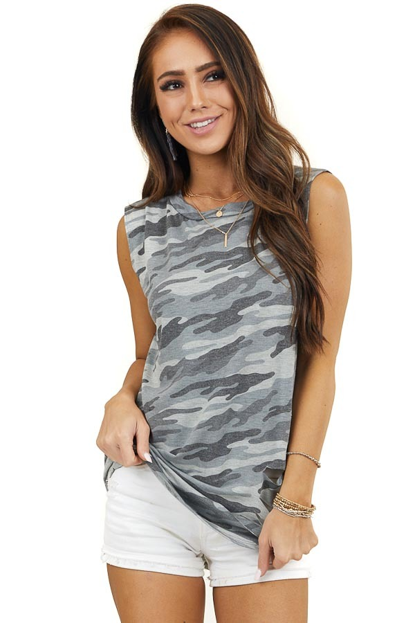 Blue and Charcoal Camo Print Tank Top with Distressed Detail