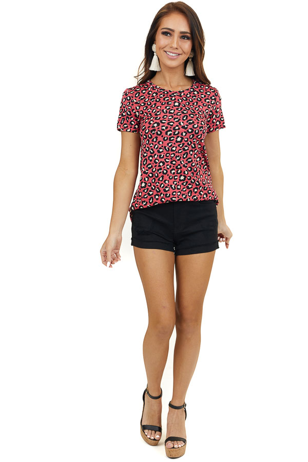Dark Coral Leopard Print Soft Knit Top with Short Sleeves