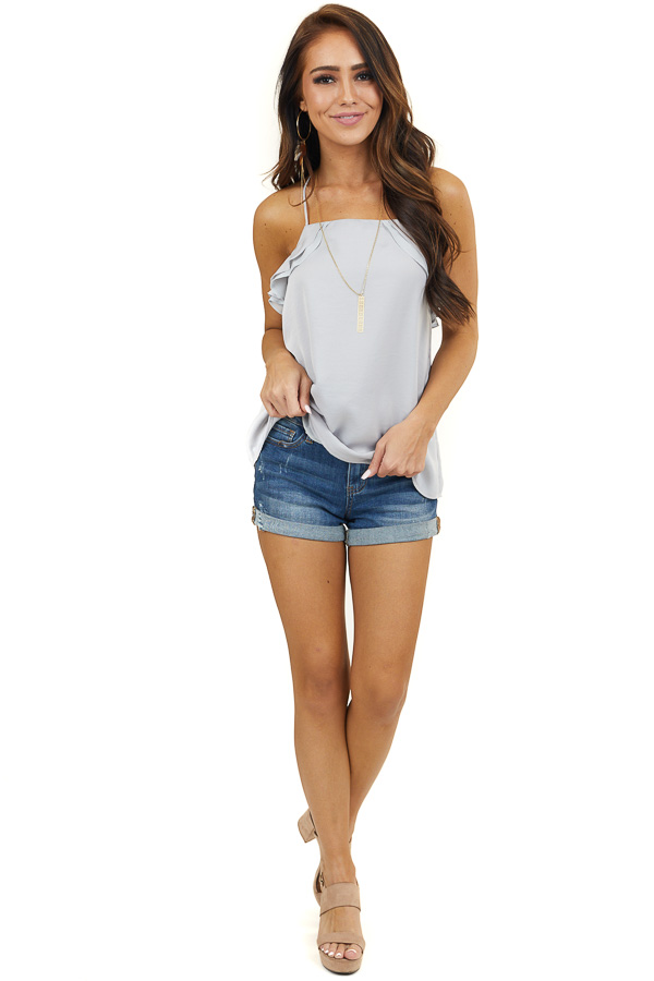 Dove Grey Racerback Woven Tank Top with Ruffle Details