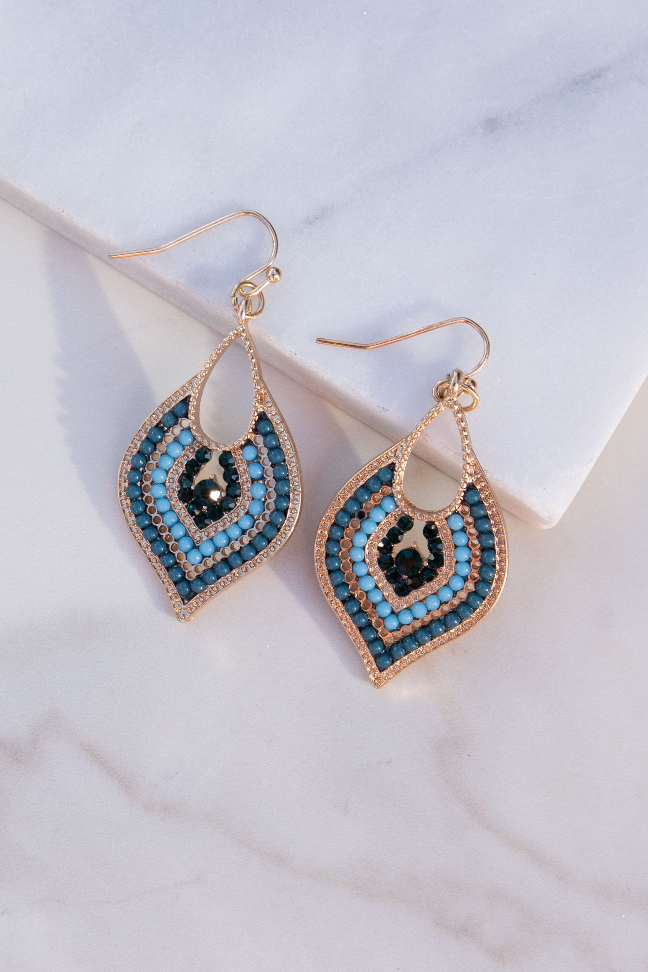 Gold Moroccan Style Dangle Earrings with Teal Bead Details