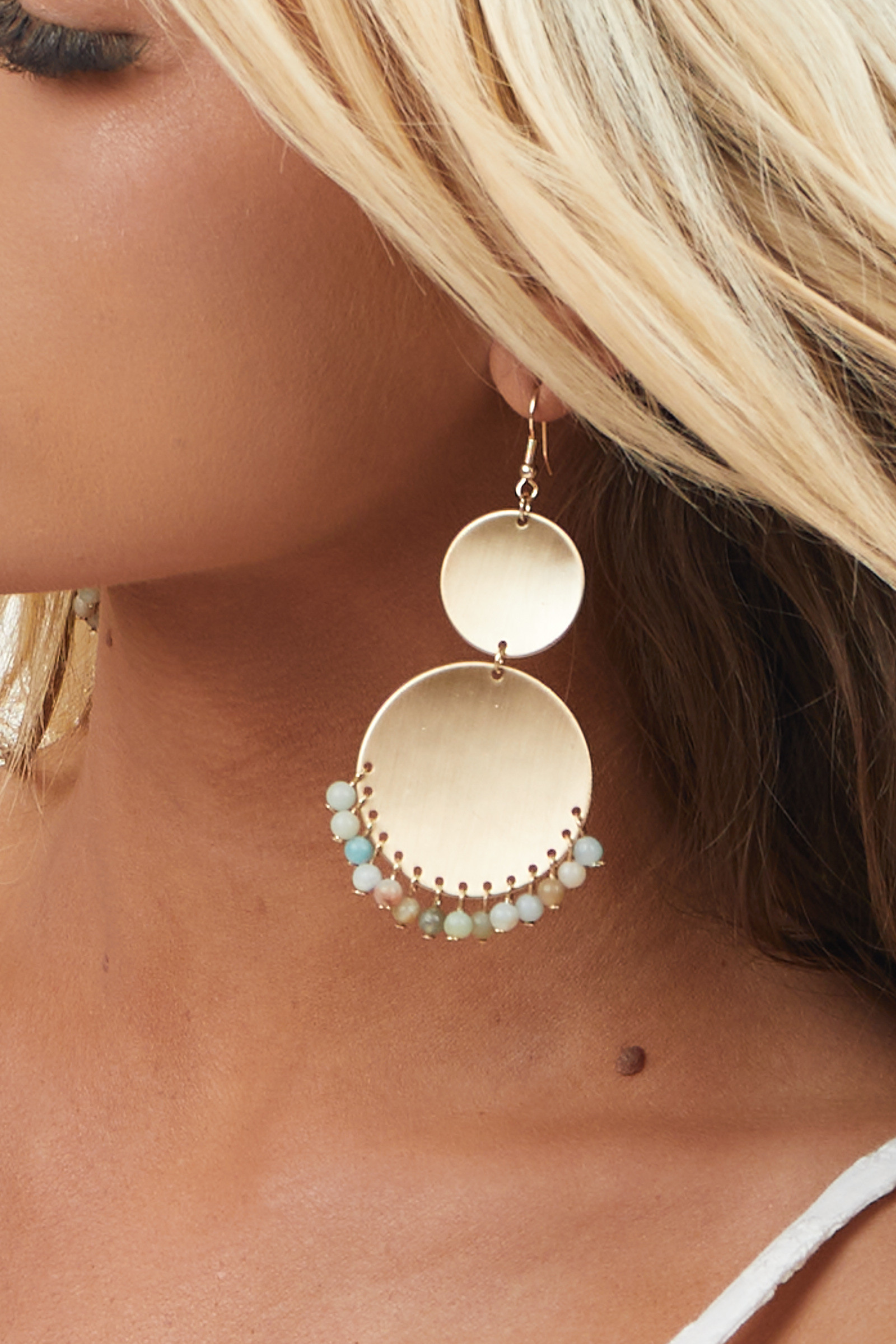Brushed Gold Layered Circle Earrings with Bead Details