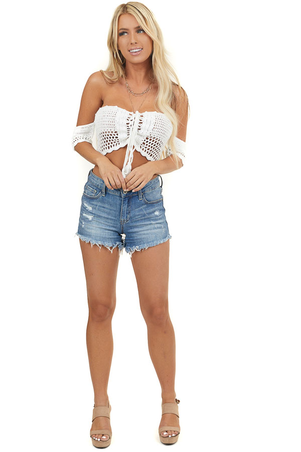 White Crocheted Off Shoulder Crop Top With Lace Up Front