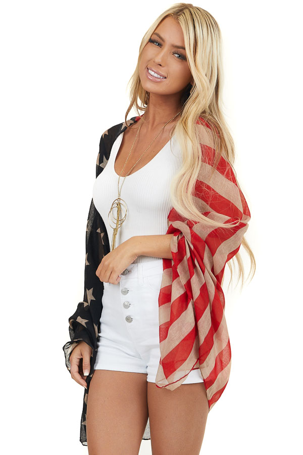 Faded Red Oatmeal and Navy Patriotic Print Lightweight Scarf