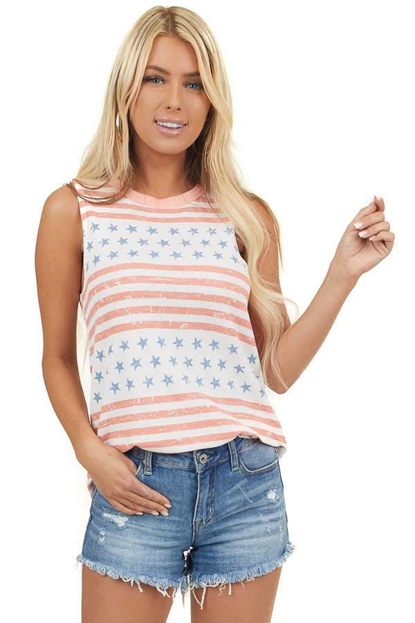 Ivory Multiprint Patriotic Sleeveless Waffle Knit Top