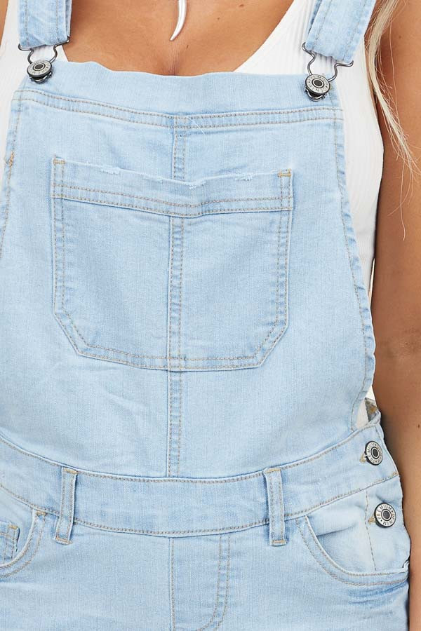 Light Wash Denim Overalls with Distressed Details
