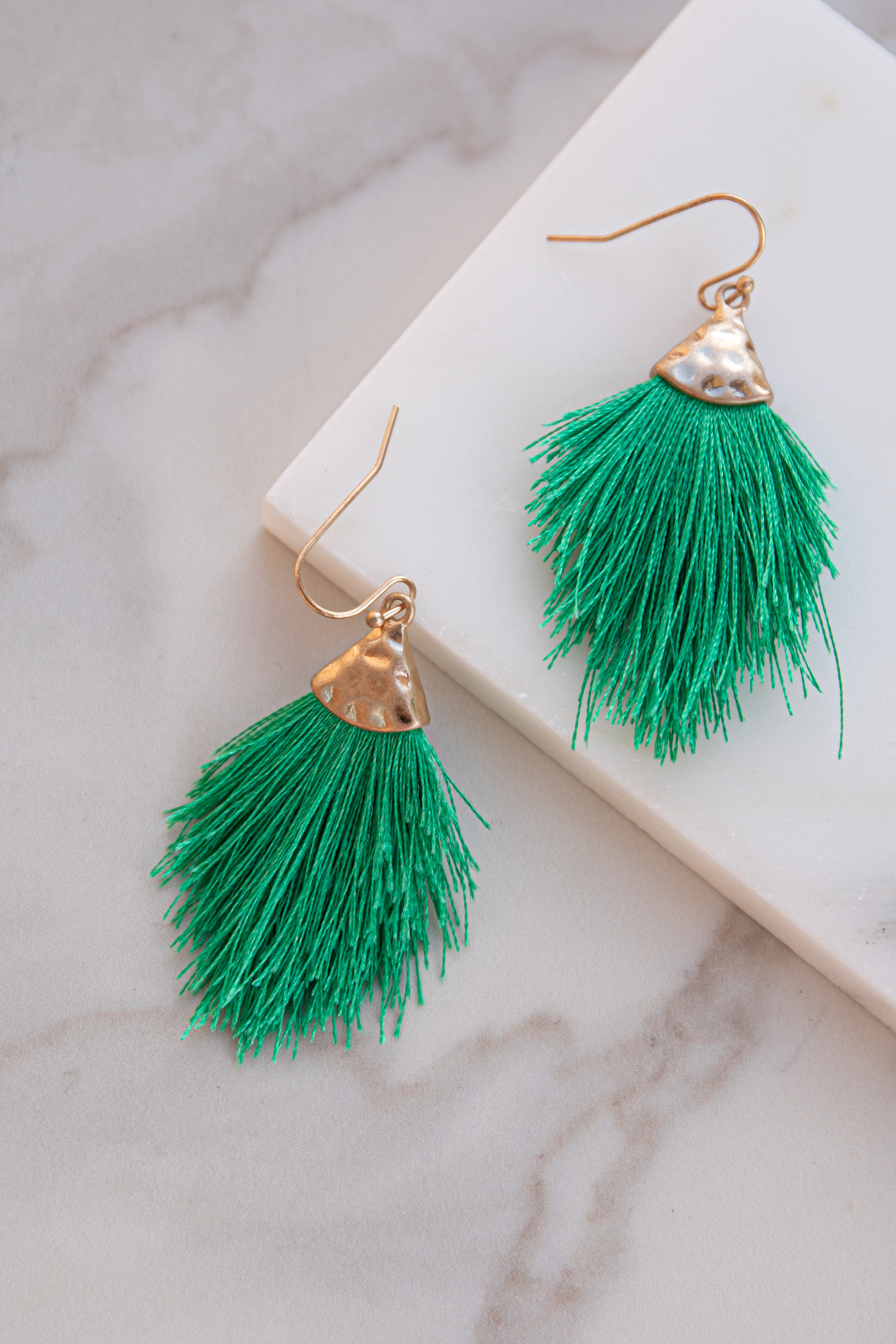 Kelly Green and Gold Hammered Tassel Drop Earrings