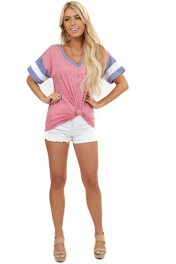 Faded Crimson Knit Top with Short Striped Sleeves