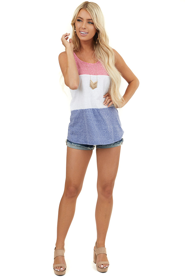 Multicolor Colorblock Knit Tank Top with Rounded Neckline