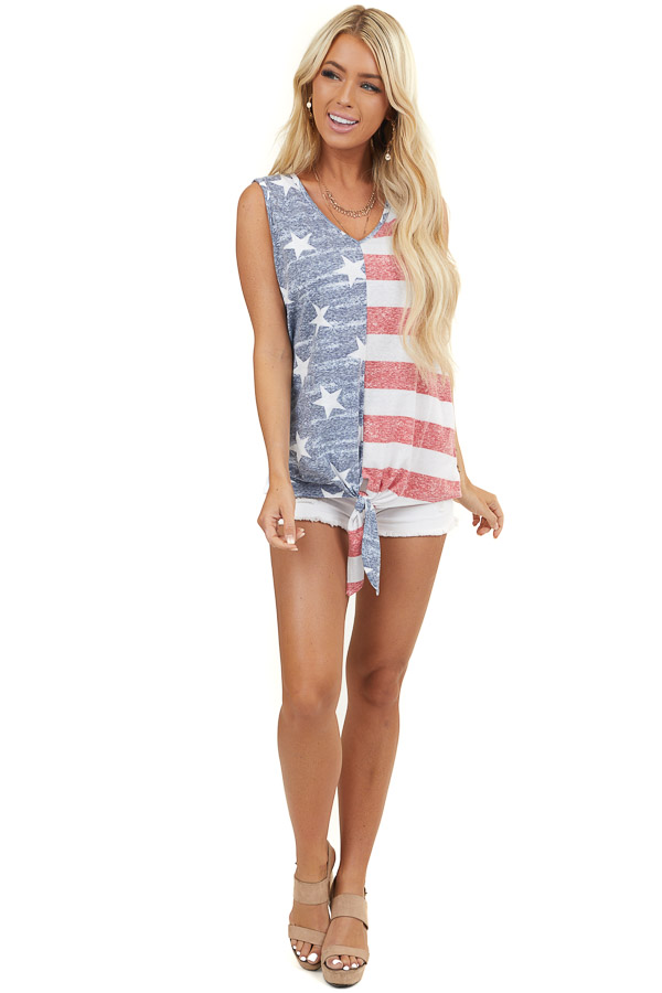 Faded Navy and Crimson Flag Print Tank Top with Front Tie