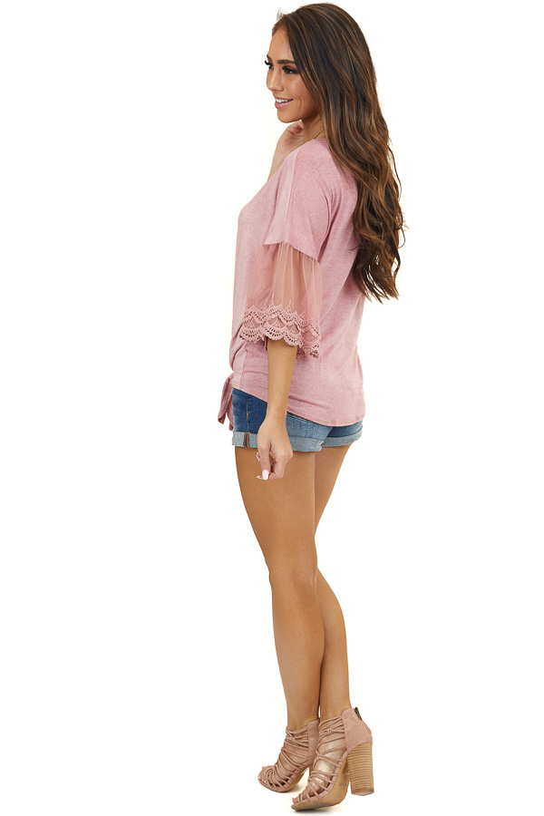 Dusty Blush 3/4 Length Sleeve Knit Top with Front Tie Detail