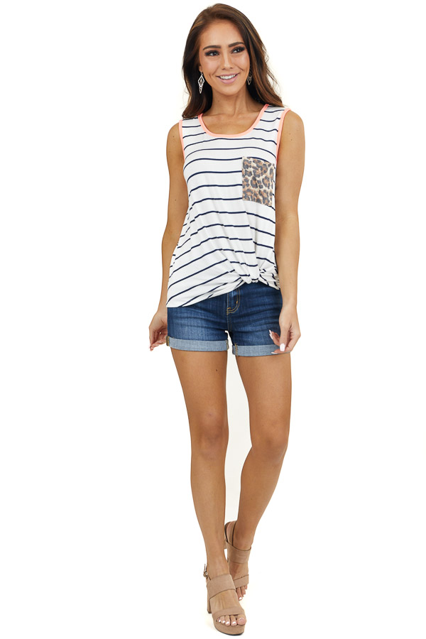 White and Navy Striped Tank Top with Leopard Print Pocket