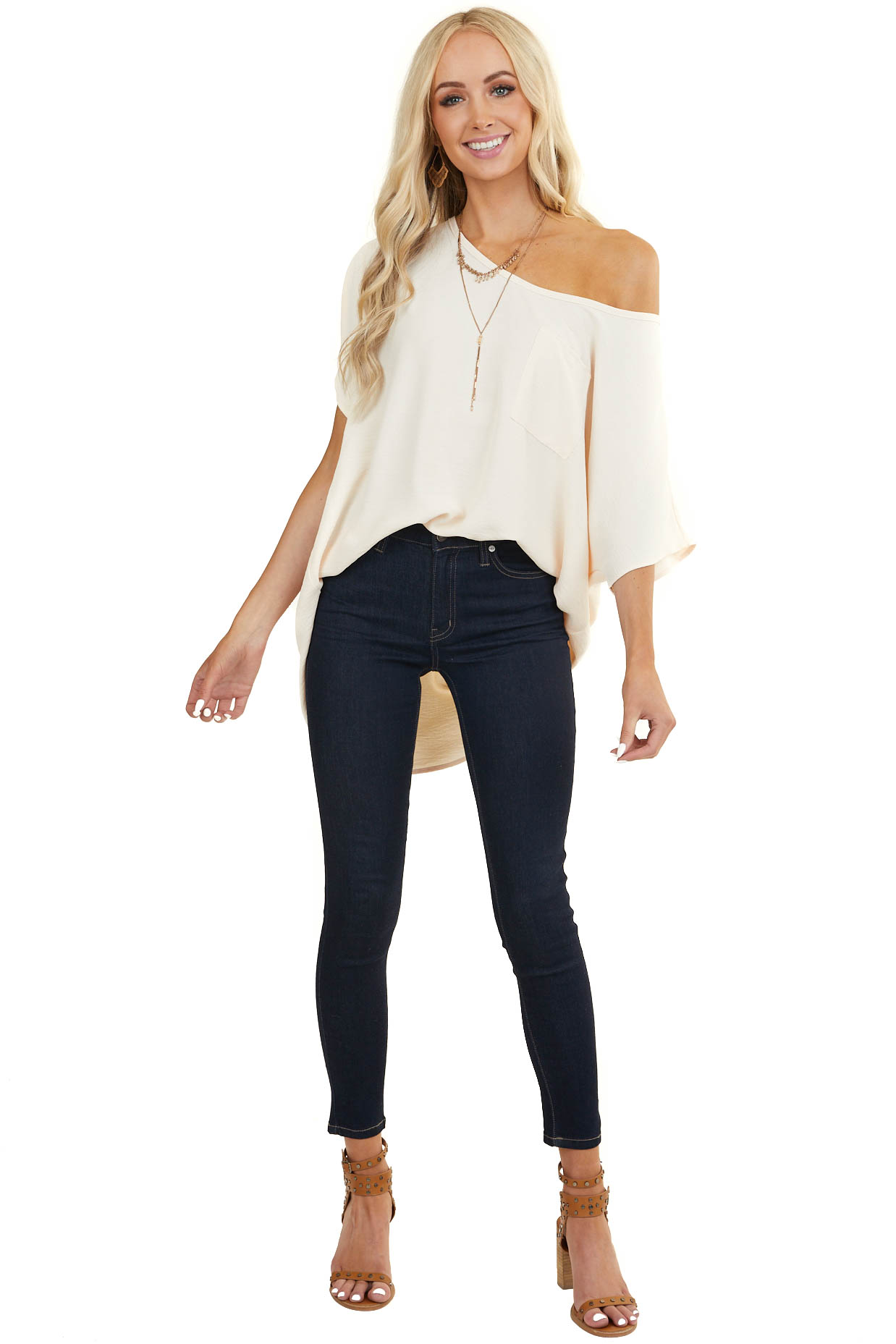 Cream Oversized Short Dolman Sleeve Blouse with Front Pocket