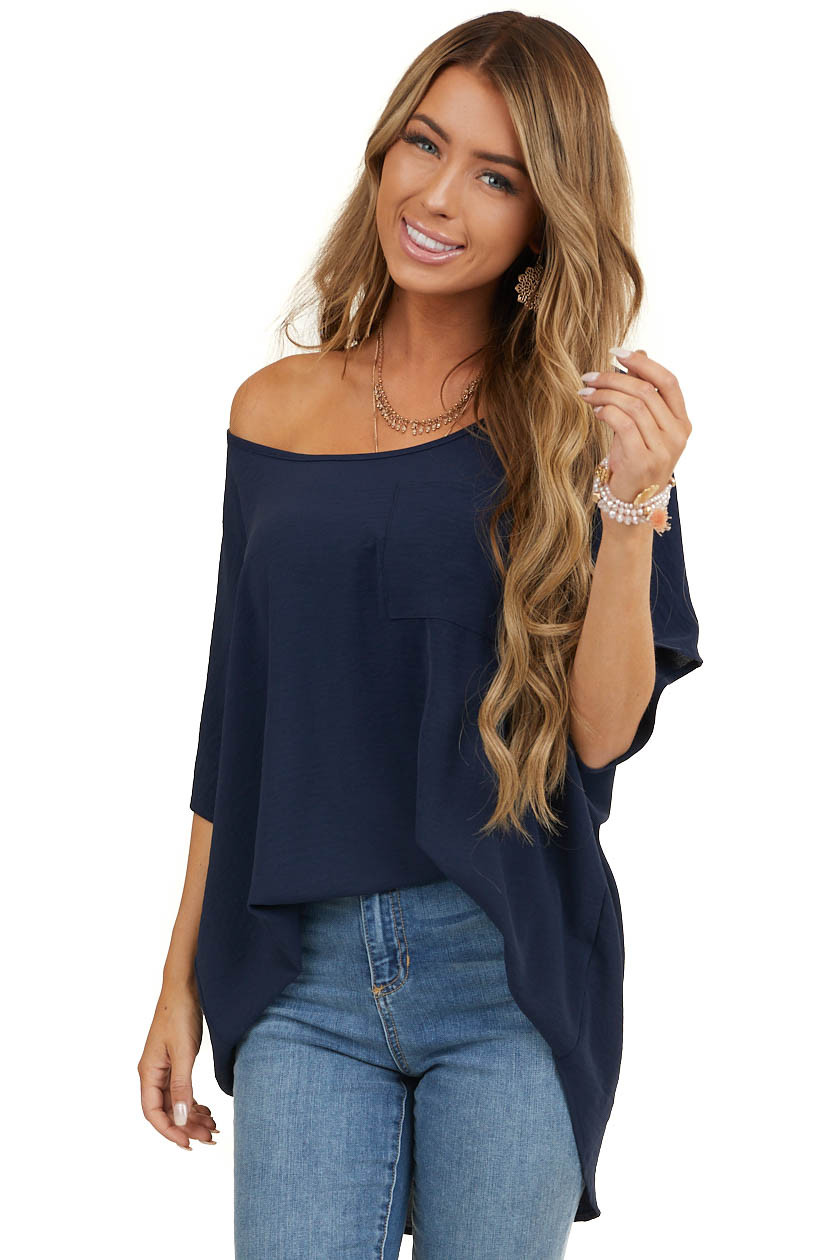 Navy Oversized Short Dolman Sleeve Blouse with Front Pocket