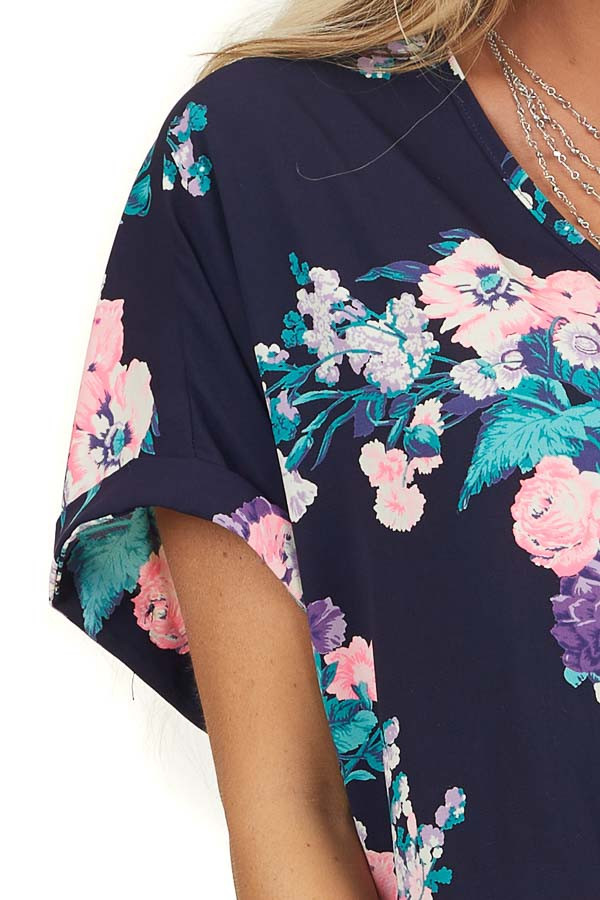 Navy Floral Print Surplice Woven Top with Bubble Hemline