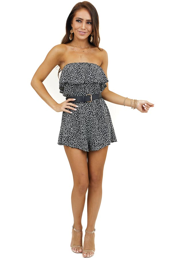 Black and White Polka Dot Strapless Romper with Bust Overlay