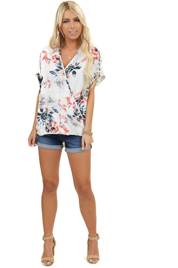 Ivory Floral Print Surplice Woven Top with Bubble Hemline