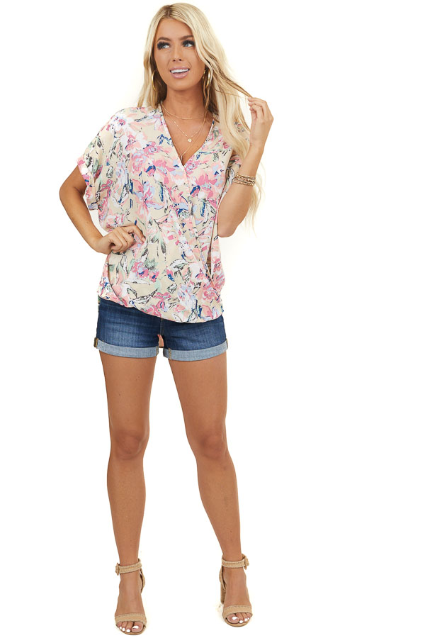 Beige Floral Print Surplice Woven Top with Bubble Hemline