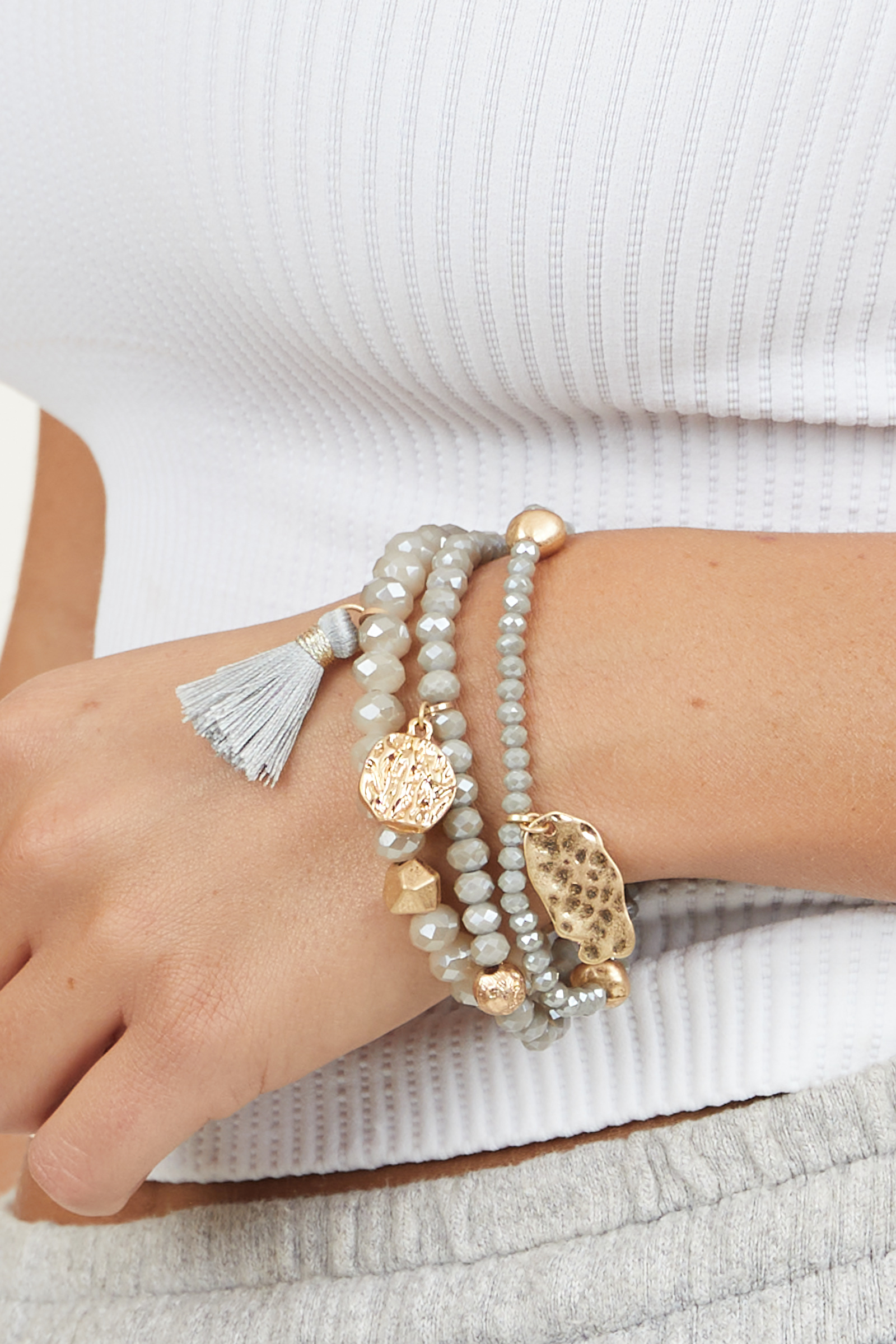 Taupe and Gold Beaded Bracelet Set with Tassel and Charms