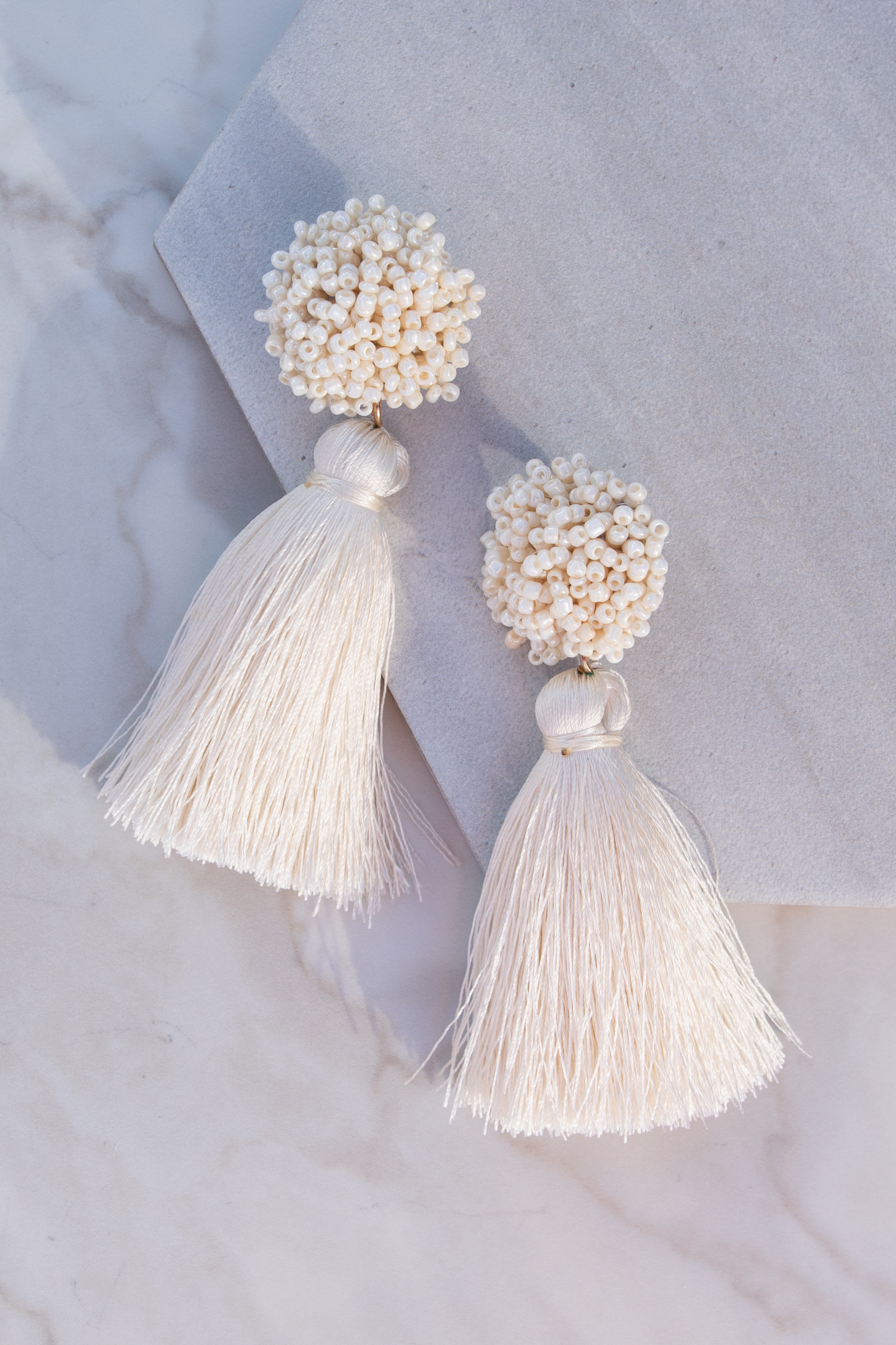 Ivory Dangle Earrings with Seed Beads and Tassel Detail