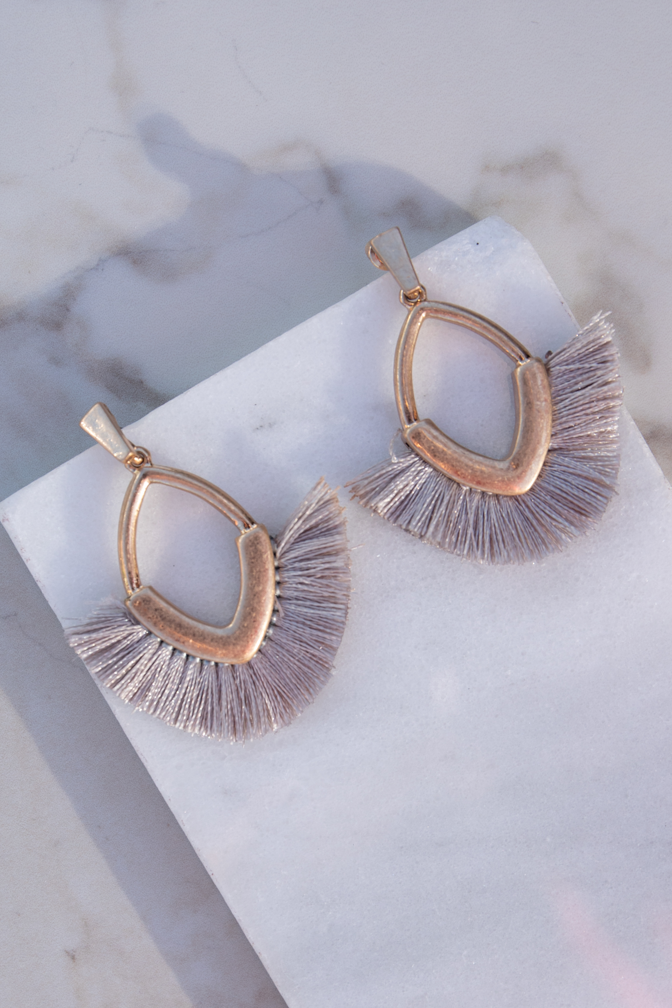 Gold Dangle Earrings with Dove Grey Fringe Details