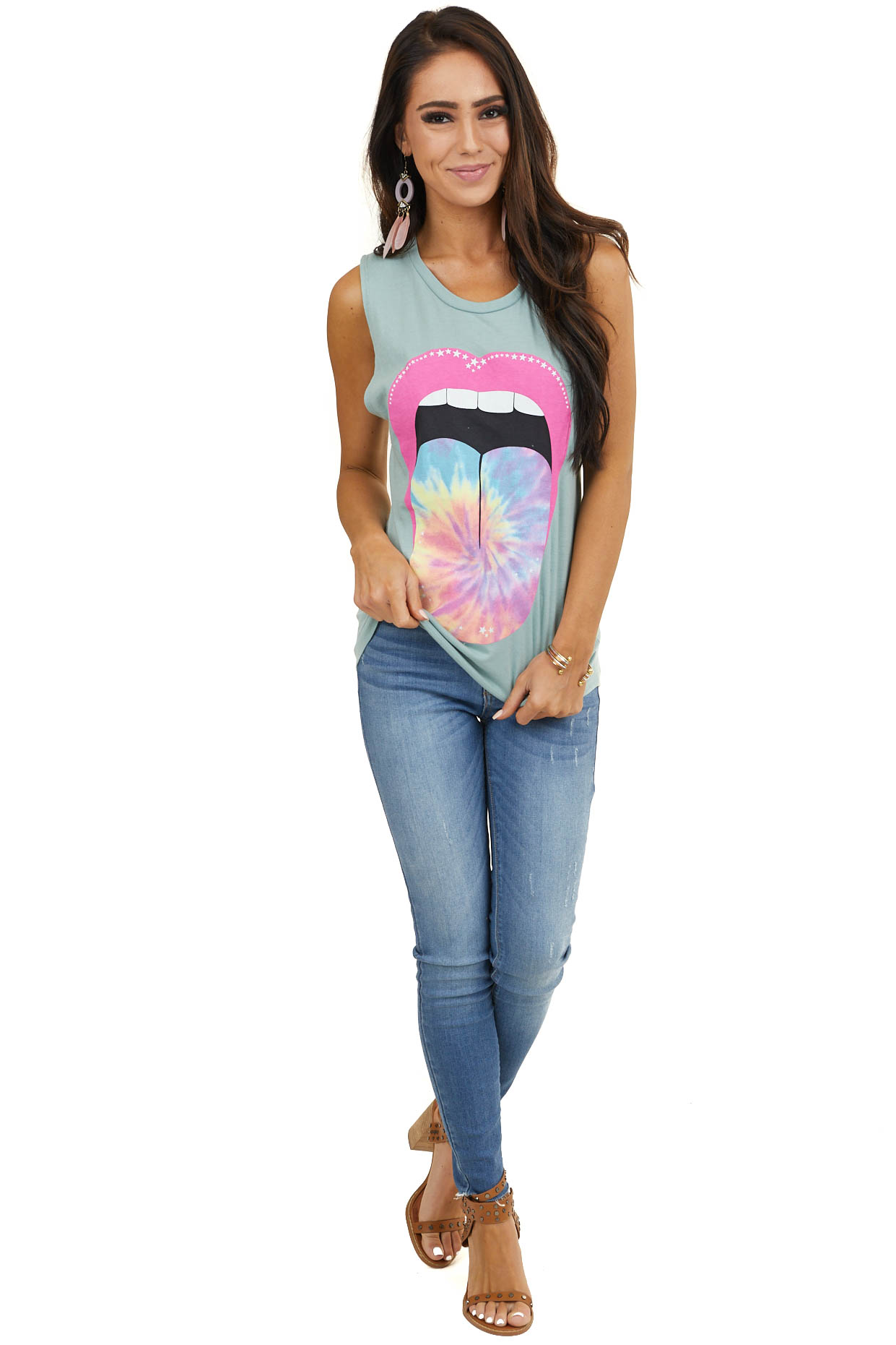 Sage Muscle Tank Top with Tie Dye Lip Graphic