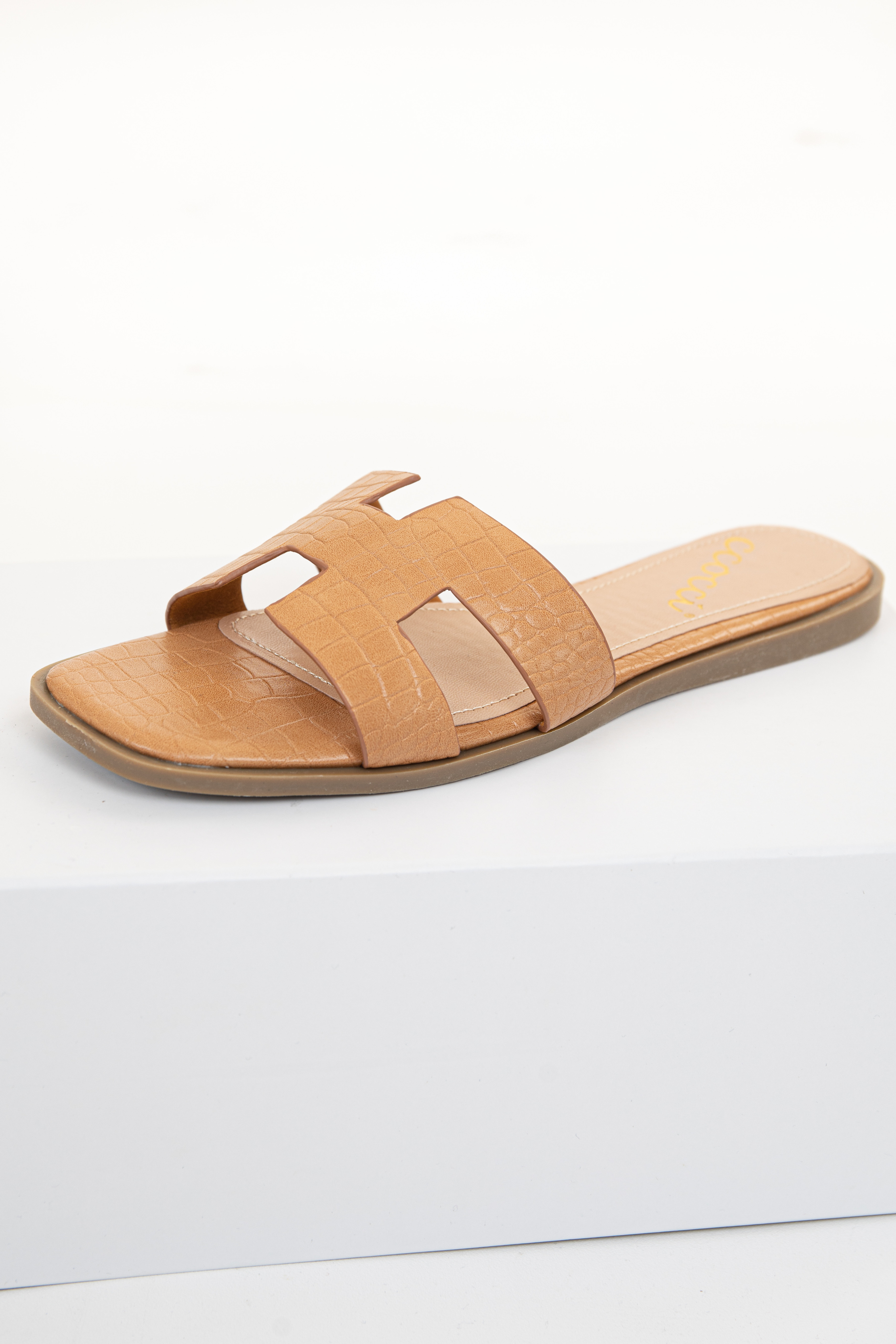 Toffee Crocodile Texture Slip On Sandal with Cutout Details