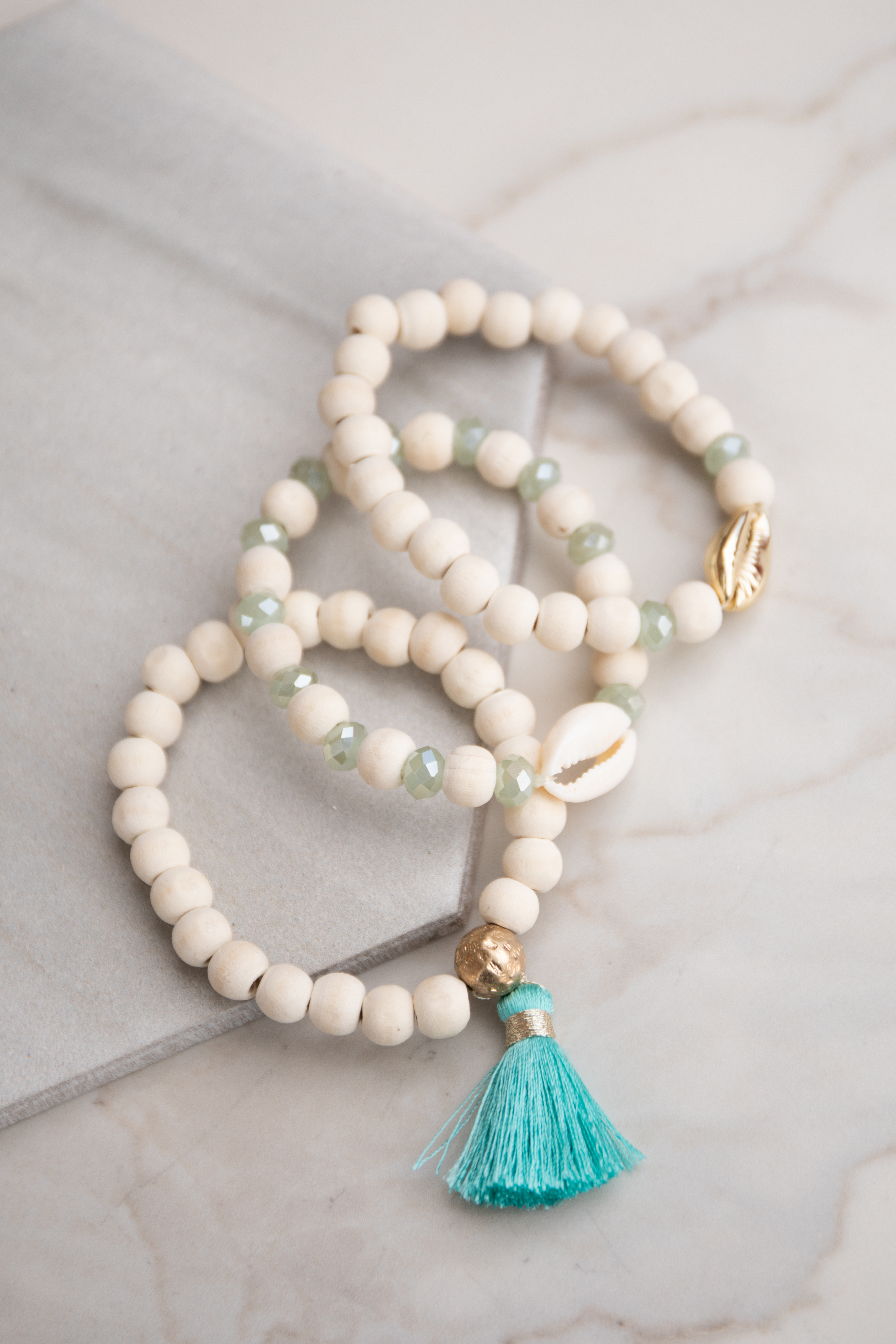 Natural Wooden and Crystal Beaded Bracelet Set with Tassel