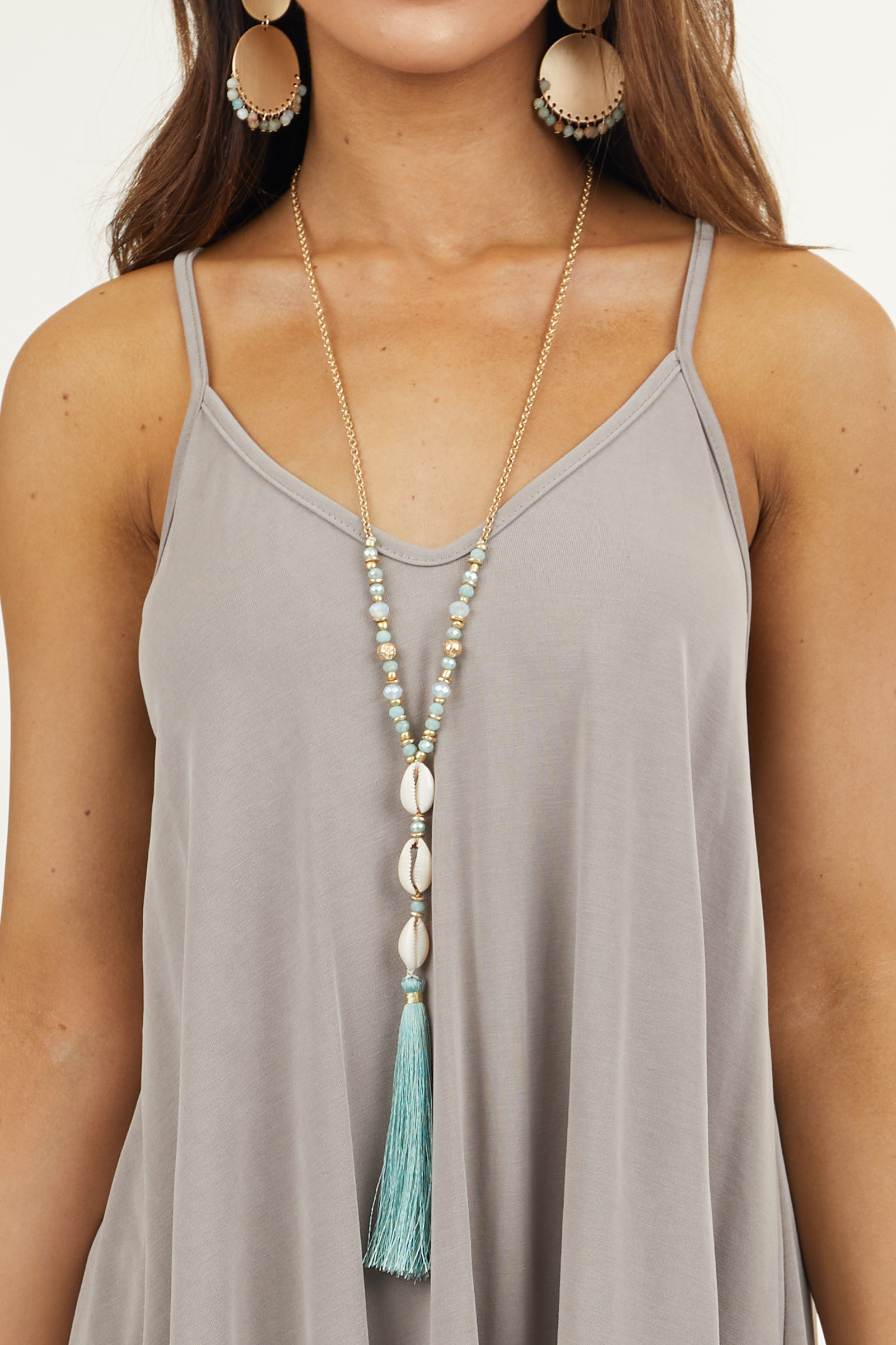 Gold and Mint Beaded Necklace with Shell and Tassel Details
