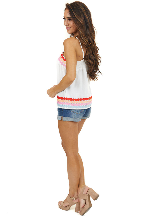 Ivory Spaghetti Strap Tank Top with Circle Trim Details