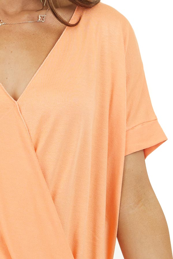 Papaya V Neck Surplice Top with Short Cuffed Sleeves