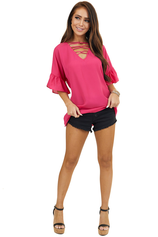Fuchsia Laced Up V Neckline Top with Short Bell Sleeves