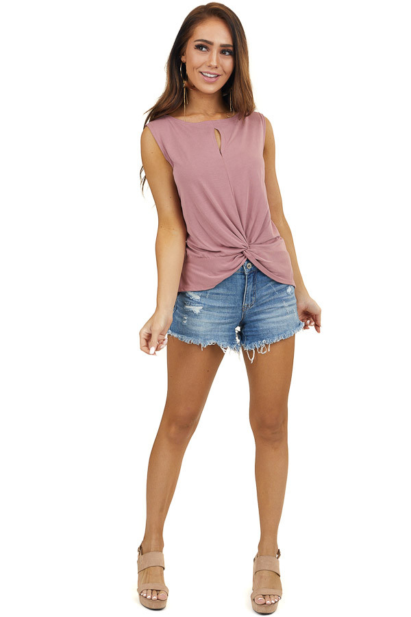 Mauve Sleeveless Tank Top with Twist and Cutout Detail