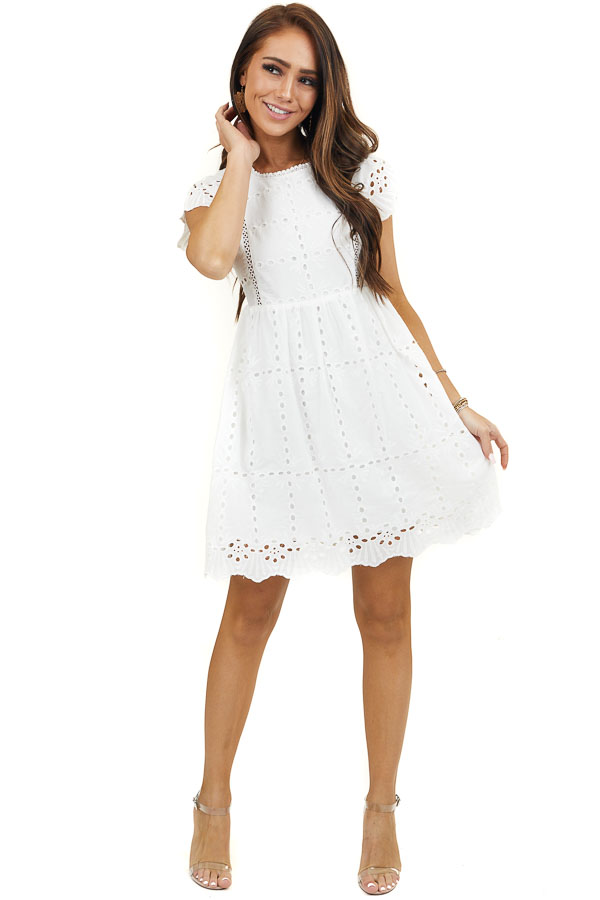 Off White Short Sleeve Mini Dress with Eyelet Lace Details