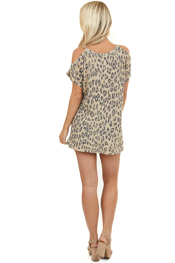 Beige Leopard Print Cold Shoulder Knit Top with Front Twist