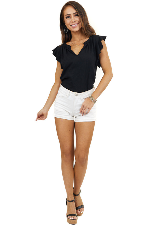 Black V Neckline Short Sleeve Knit Top with Ruffle Details