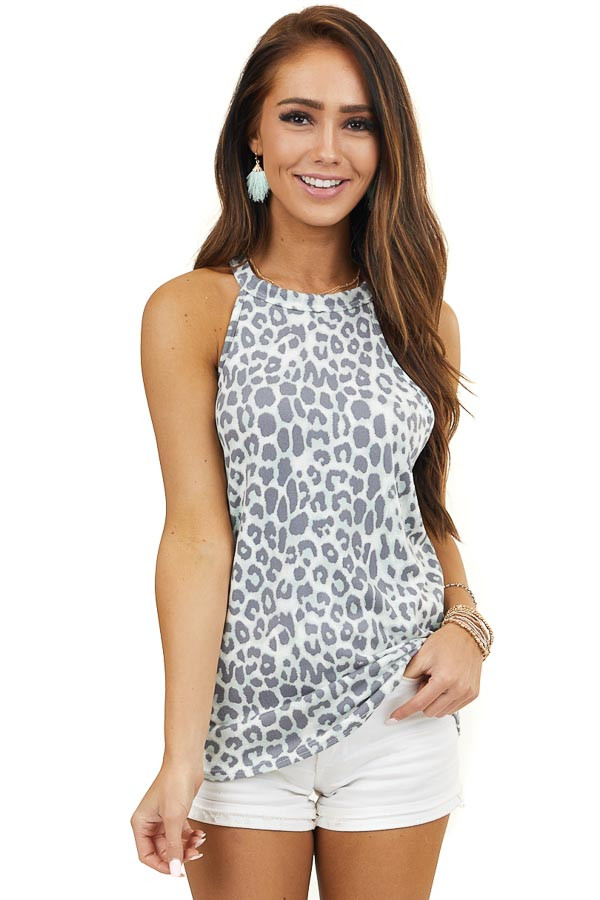 Mint and Charcoal Leopard Print Tank Top with High Neckline