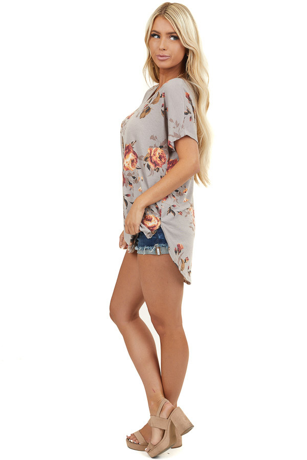 Taupe Floral Print Short Sleeve Top with Rounded Hemline