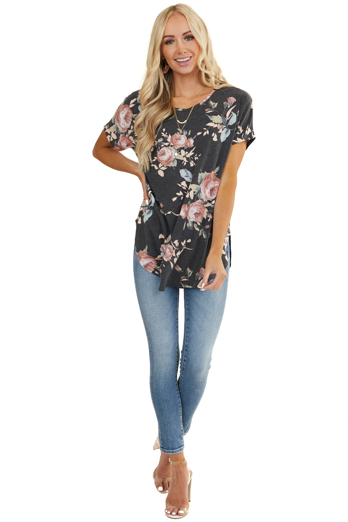 Charcoal Floral Print Short Sleeve Top with Rounded Hemline