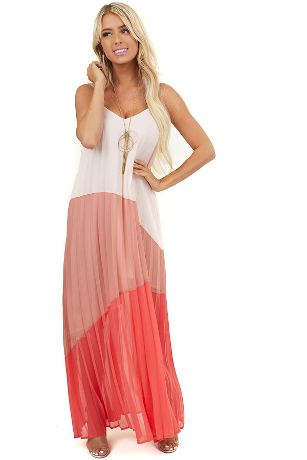 Pink and Red Asymmetrical Colorblock Sleeveless Maxi Dress