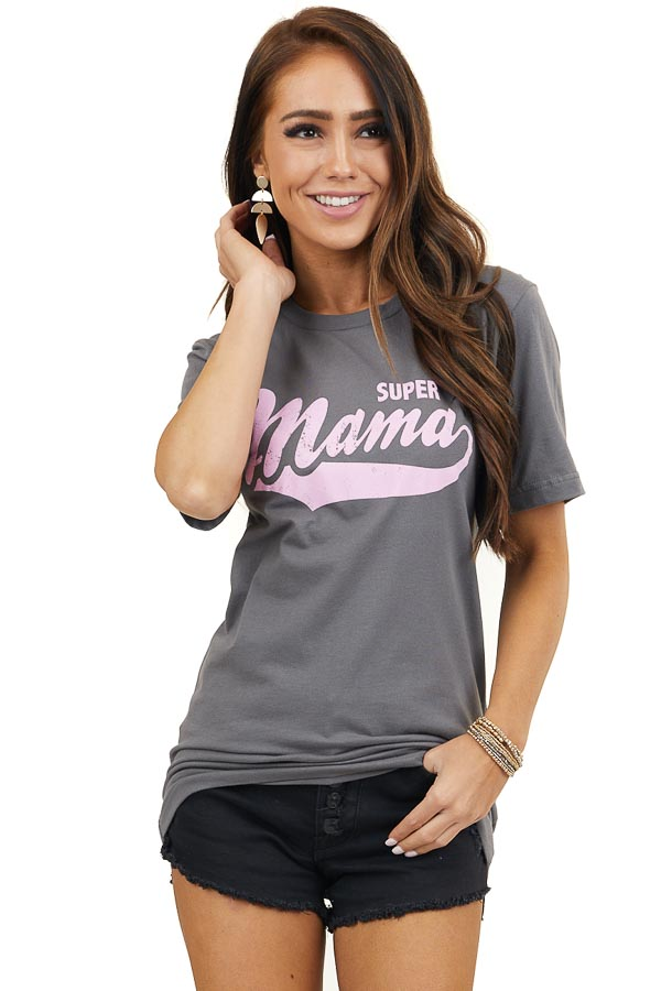 Charcoal Short Sleeve 'Super Mama' Knit Graphic Tee