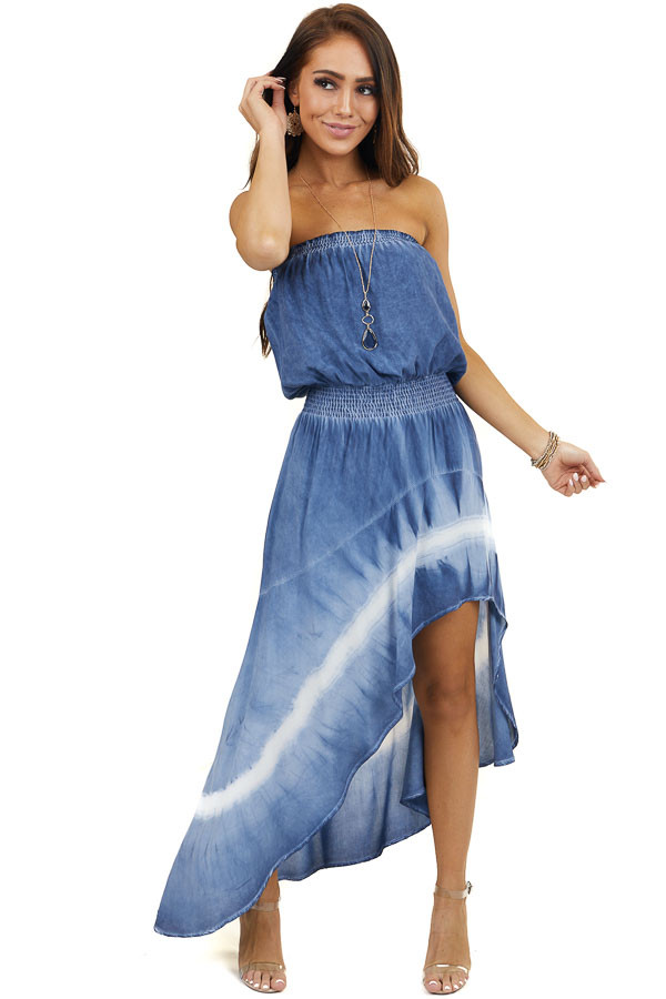 Navy Tie Dye Strapless High Low Dress with Smocked Waist