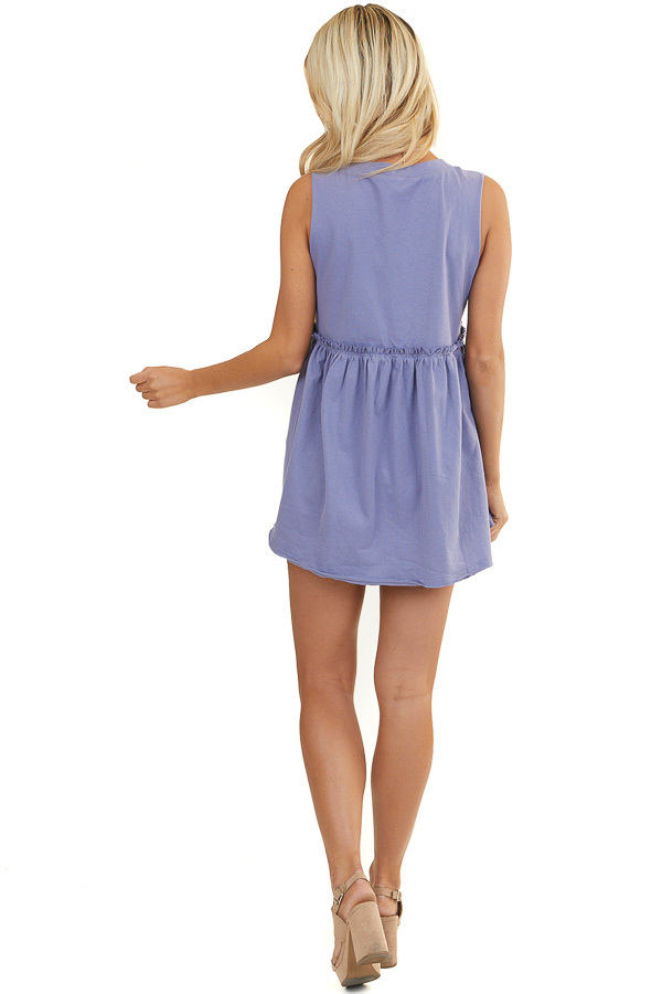 Periwinkle Babydoll Knit Tunic Top with Cutoff Sleeves
