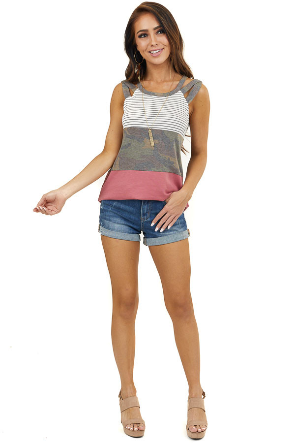 Marsala Colorblock Tank Top with Stripe and Camo Print