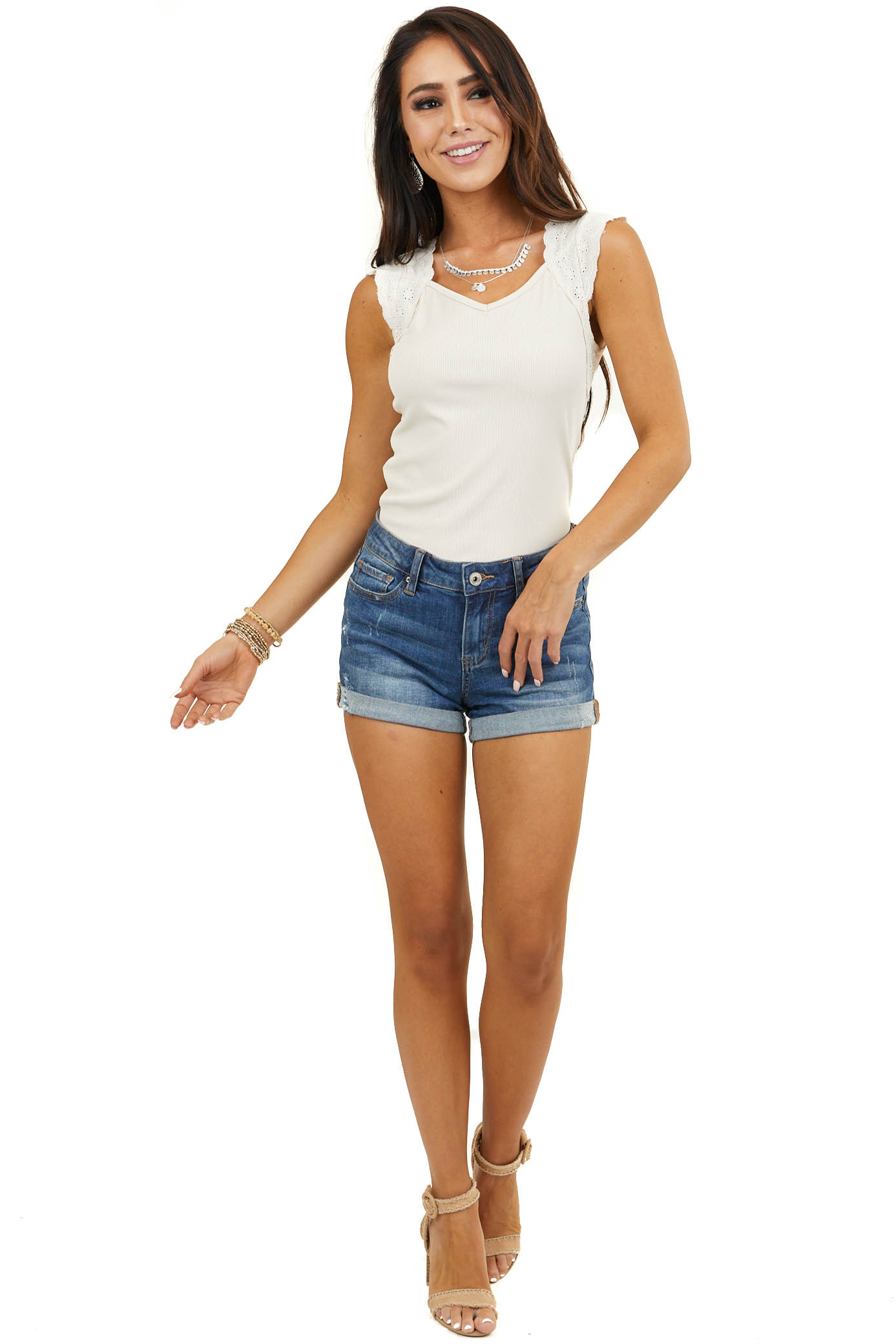 Cream Ribbed Top with Lace Straps and Criss Cross Detail