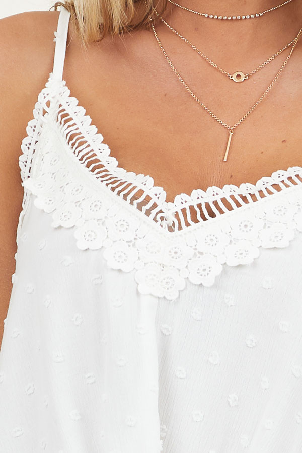 Off White Swiss Dot and Floral Lace Tank Top with Front Knot