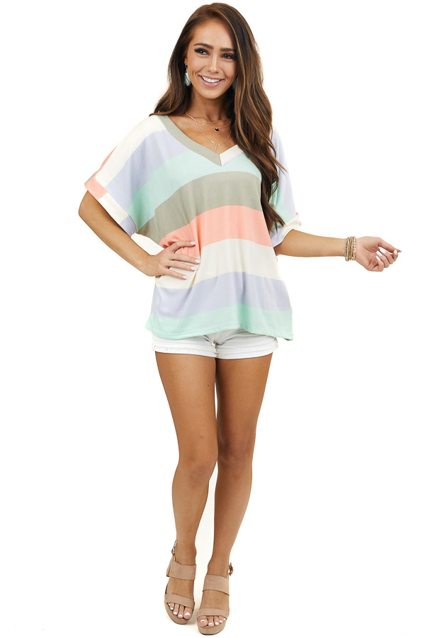Multicolor Striped Print Super Soft Knit Top with V Neckline