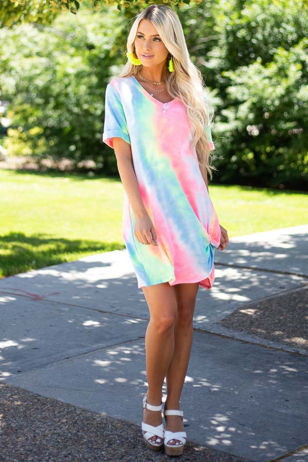 Multicolor Tie Dye Short Dress with V Neck and Twist Detail