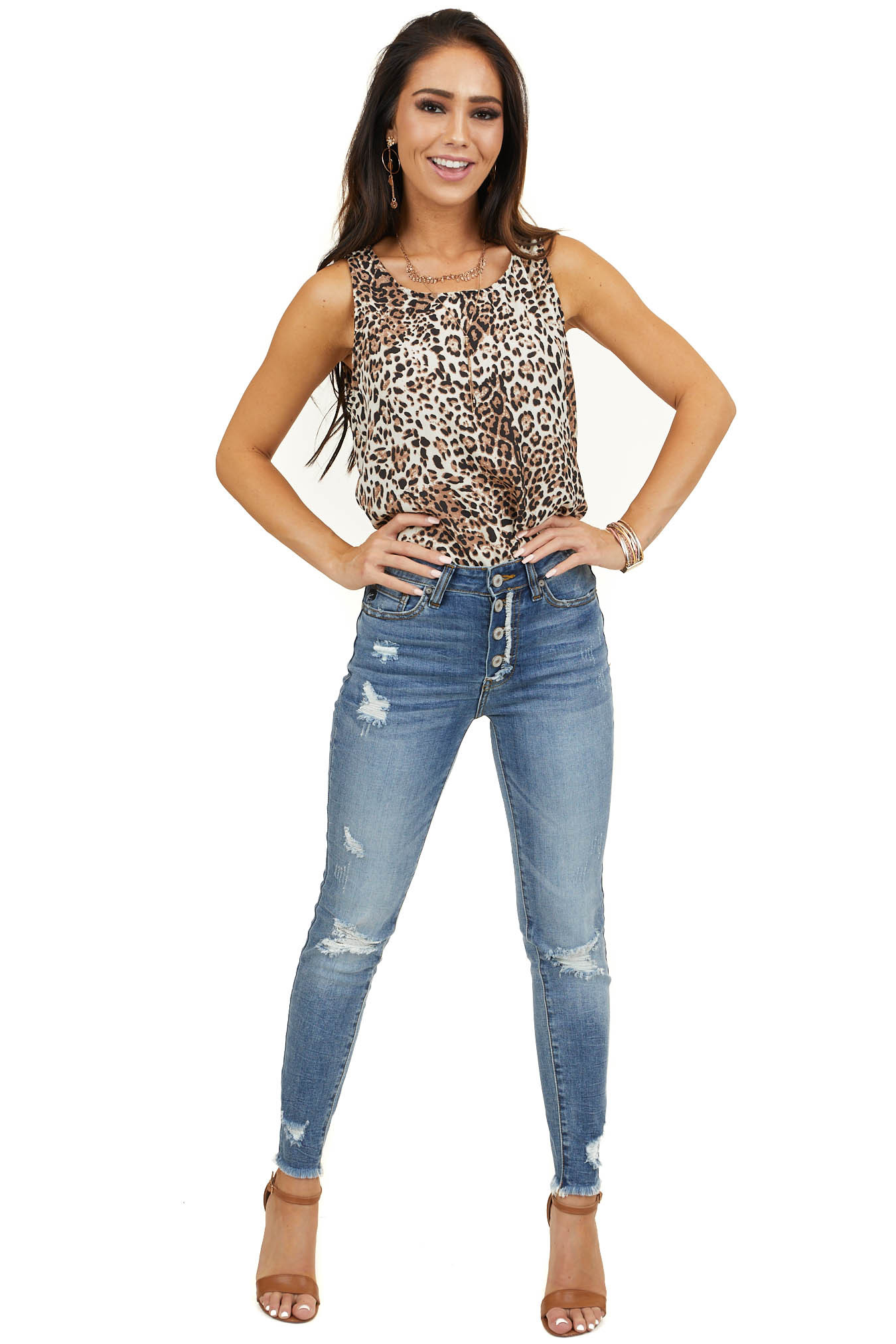 Cream and Mocha Leopard Print Tank Top with Rounded Neckline