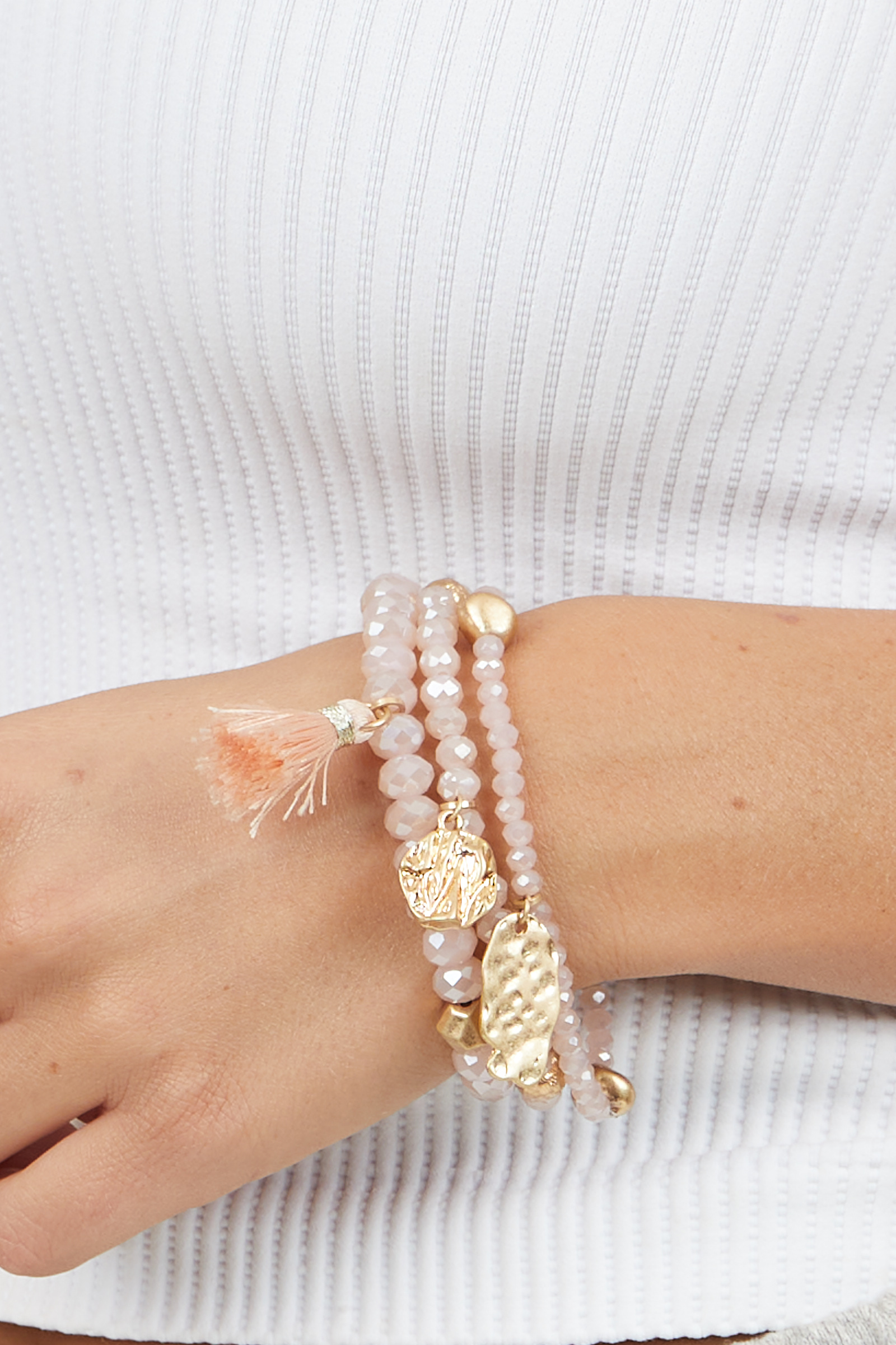 Pink and Gold Beaded Bracelet Set with Tassel and Charms
