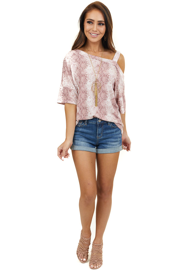 Dusty Blush Snakeskin Print Knit Top with One Cold Shoulder